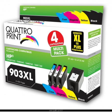 pack 4 cartouches compatible HP 903XL