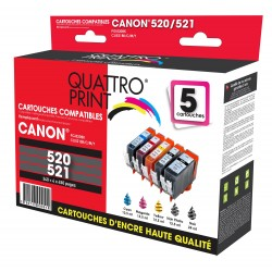 Pack 5 cartouches d'encre compatible Canon PGI-520 / CLI-521