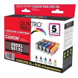 Pack 5 cartouches d'encre compatible Canon PGI-550XL / CLI-551XL