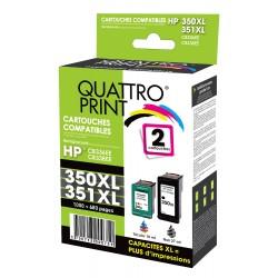 Pack 2 cartouches d'encre compatible HP 350XL / 351XL