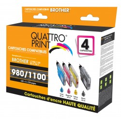 Pack 4 cartouches Quattro Print compatible Brother LC-980 / LC-1100