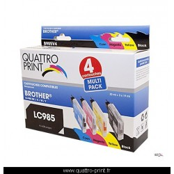 Pack 4 cartouches d'encre Quattro Print compatible Brother LC-985