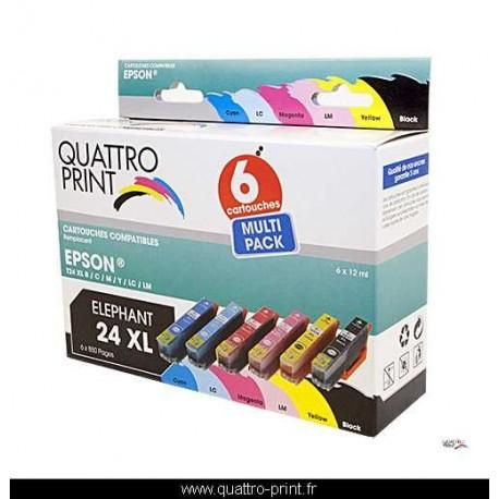 Pack 6 cartouches Quattro Print compatible Epson T2437 (Éléphant)