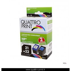 Pack 2 cartouches d'encre compatible HP-21 + HP-22