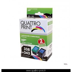 Pack 2 cartouches d'encre compatible HP 338 / HP 343