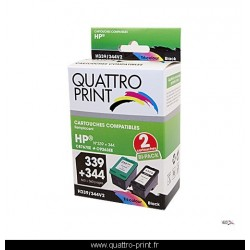 Pack 2 cartouches d'encre compatible HP 339 / HP 344